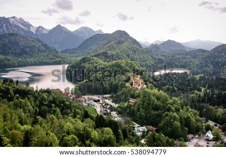 Landscape with forest, lake and mountain in background, view from Neuschwanstein castle in Bavaria, Germany