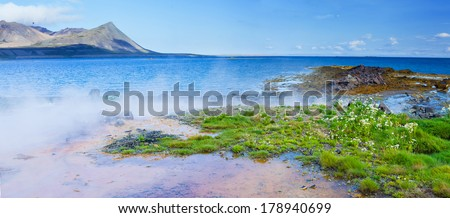 Landscape with geothermal spring near Atlantic ocean in Volcanic Iceland - stock photo