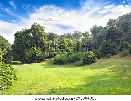 Landscape with glade, bushes and trees - stock photo