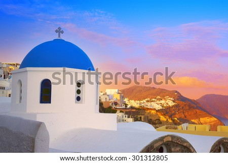 Landscape with greek bell tower, Santorini Island, Greece