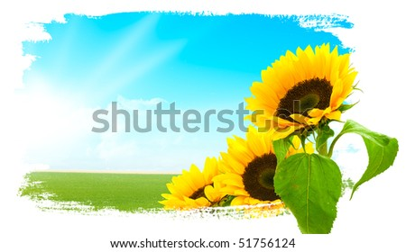 landscape with green grass and blue sky. on the left side there is the sun and some clouds. on the right side there is sunflowers, background is painted - stock photo
