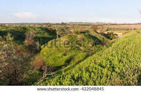 Landscape with green hills - stock photo