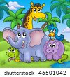 Landscape with group of animals - color illustration. - stock photo