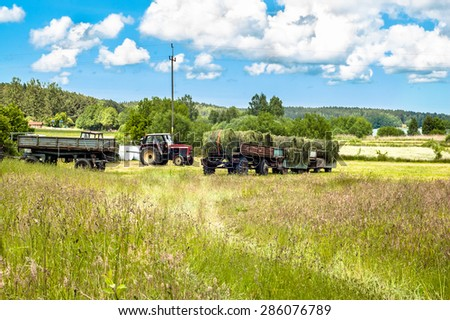 Landscape with haymaking tractor - stock photo