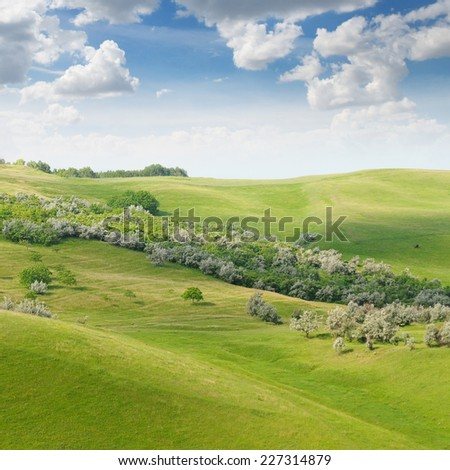 landscape with hilly field and blue sky - stock photo