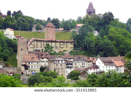 Landscape with historic medieval houses in Friburg, Switzerland      - stock photo