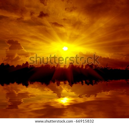 landscape with hot sunset over lake in forest