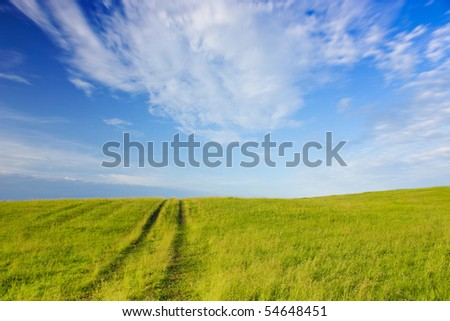 Landscape with image of road on a hill - stock photo