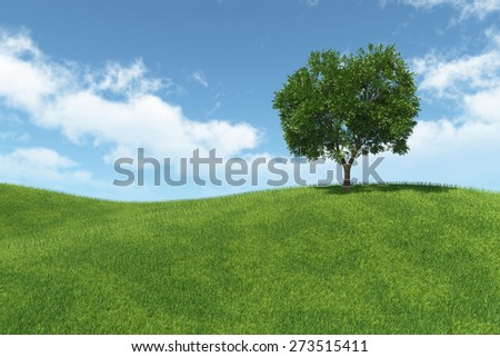 landscape with isolated tree on green meadow and blue sky with white clouds - stock photo