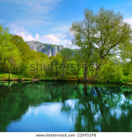 Landscape with lake, forest, mountain and blue sky