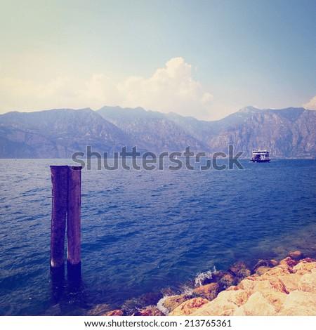 Landscape with  Lake Lago Di Garda in Italy, Instagram Effect - stock photo