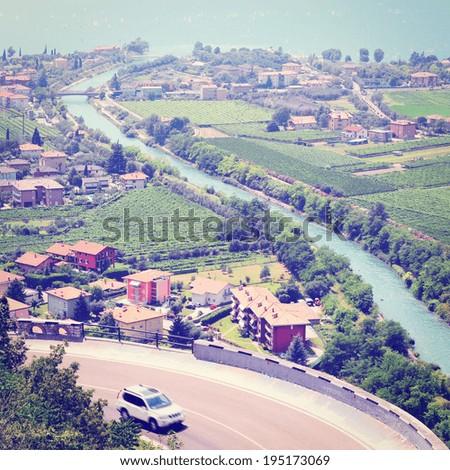Landscape with Lake Lago Di Garda in Italy, Retro Effect - stock photo