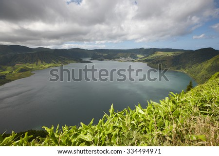 Landscape with lakes in Sao Miguel island, Sete Cidades. Azores. Portugal - stock photo