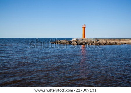 Landscape with lighthouse - stock photo