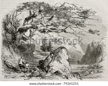 Landscape with man and child. Created by Girardet, published on Magasin Pittoresque, Paris, 1850 - stock photo