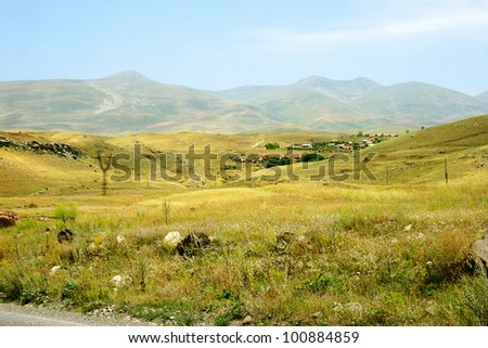 Landscape with mountain and meadow in Armenia.