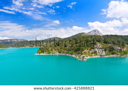 landscape with mountain lake, France