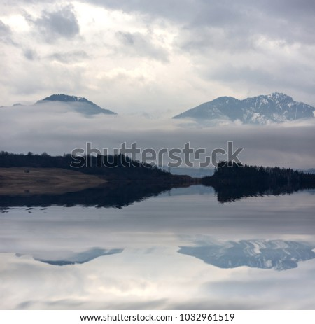 landscape with mountain lake water reflection