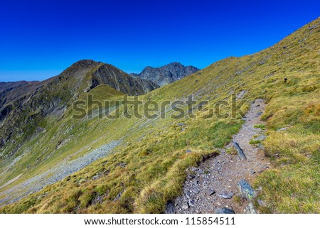 Landscape with mountain trail and clear blue sky - stock photo