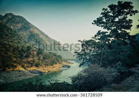 Landscape with mountains and river. Rishikesh, India - stock photo