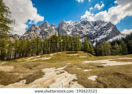 Landscape with mountains ,Kranjska Gora,Jesenice,Slovenia - stock photo