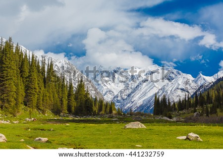 landscape with mountains, Kyrgyzstan - stock photo