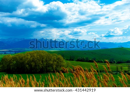 Landscape with mountains on background with beautiful sky. - stock photo