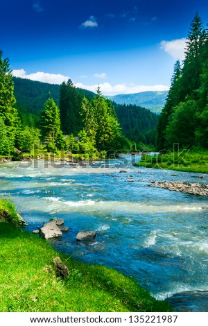 landscape mountains trees. landscape with mountains trees and a river in front r