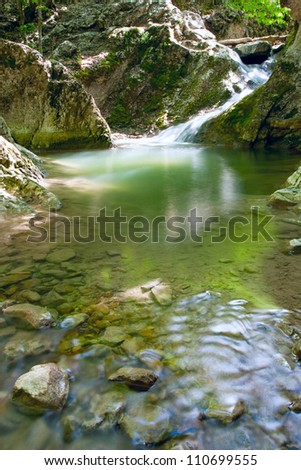 landscape with nice mountain stream - stock photo