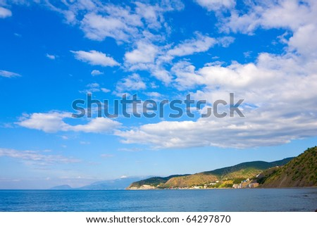 landscape with nice sky over sea - stock photo