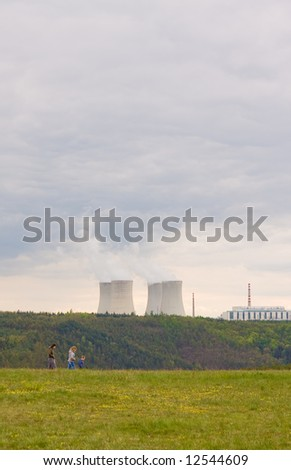 landscape with nuclear power - stock photo