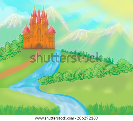 landscape with old castle  - stock photo
