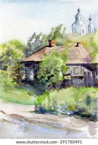 landscape with old haus - stock photo