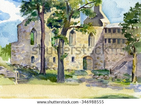 landscape with old house, cityscape, plein air,  open-air, - stock photo