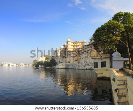 landscape with palace and lake in Udaipur India - stock photo
