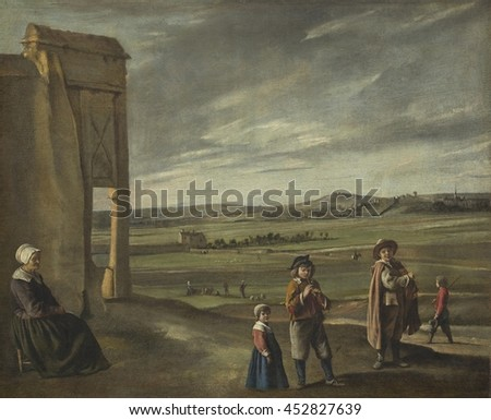 Landscape with Peasants, by Louis Le Nain, 1640, French painting, oil on canvas. An old woman regards three children: a small child dressed in white collar and cap, a little who plays the pipe, and a
