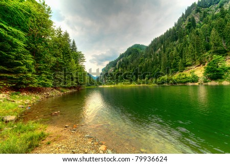 Landscape with Petrimanu Lake in Romanian mountains - stock photo