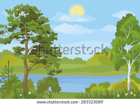 Landscape with Pine, Fir and Birch Trees, Grass and Flowers on the Shore of a Lake under a Blue Cloudy Sky with Sun - stock photo