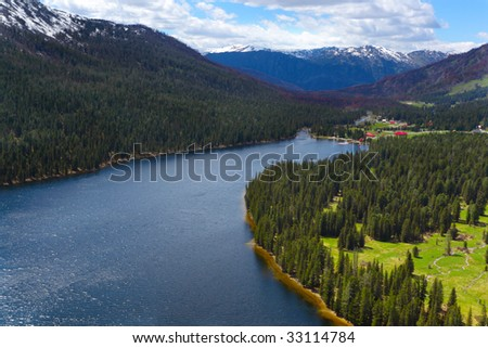 Landscape with pure mountain lake - stock photo