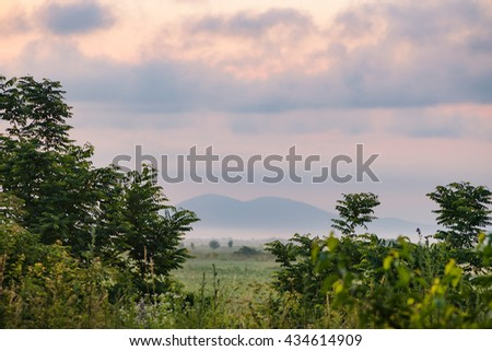 landscape with purple sky