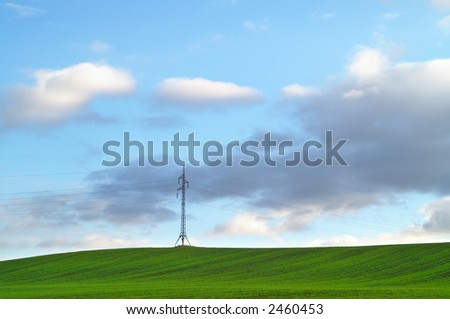 Landscape with pylon in background.