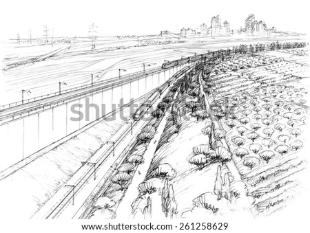 landscape with railway-1 - stock photo