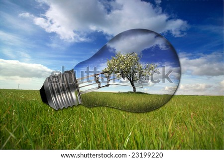 landscape with recycled light bulb - environmental concept - stock photo