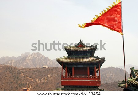 landscape with red flag and pagoda on Great Wall(China)