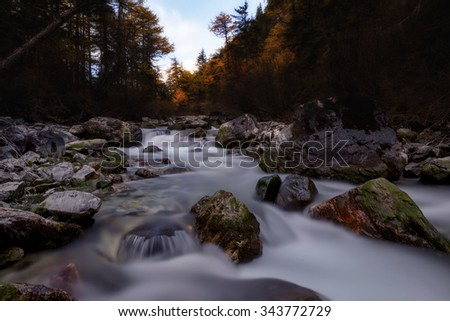 landscape with river - stock photo