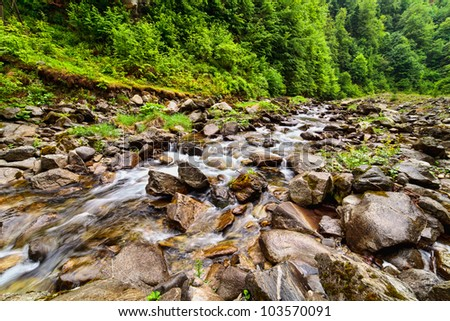 Landscape with river flowing through rocks - stock photo