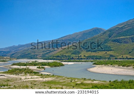 Landscape with river in Albania - stock photo