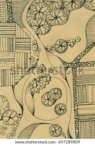 Landscape with river, island, trees, roads and fields. Top view. Hand drawn ink illustration.