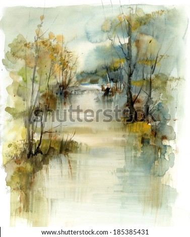 Landscape with river, watercolour, artistic background - stock photo