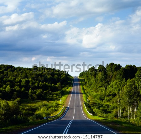 landscape with road - stock photo